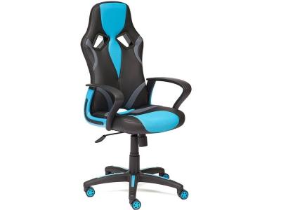 Кресло Runner иск кожа Чёрный - Голубой