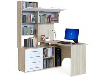 Компьютерный стол Сокол КСТ-14 левый Дуб Сонома/Белый