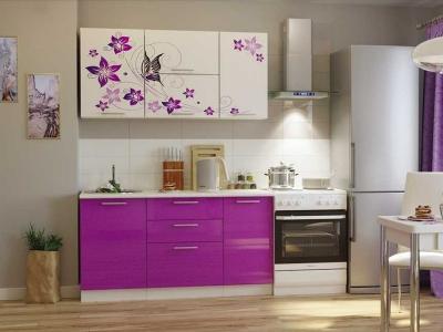 Кухонный гарнитур Риал 1500 бабочки-сиреневый