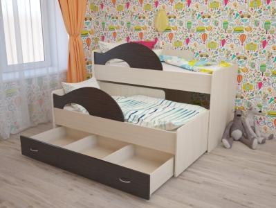 Кровать выкатная Матрешка с ящиками дуб-венге акция